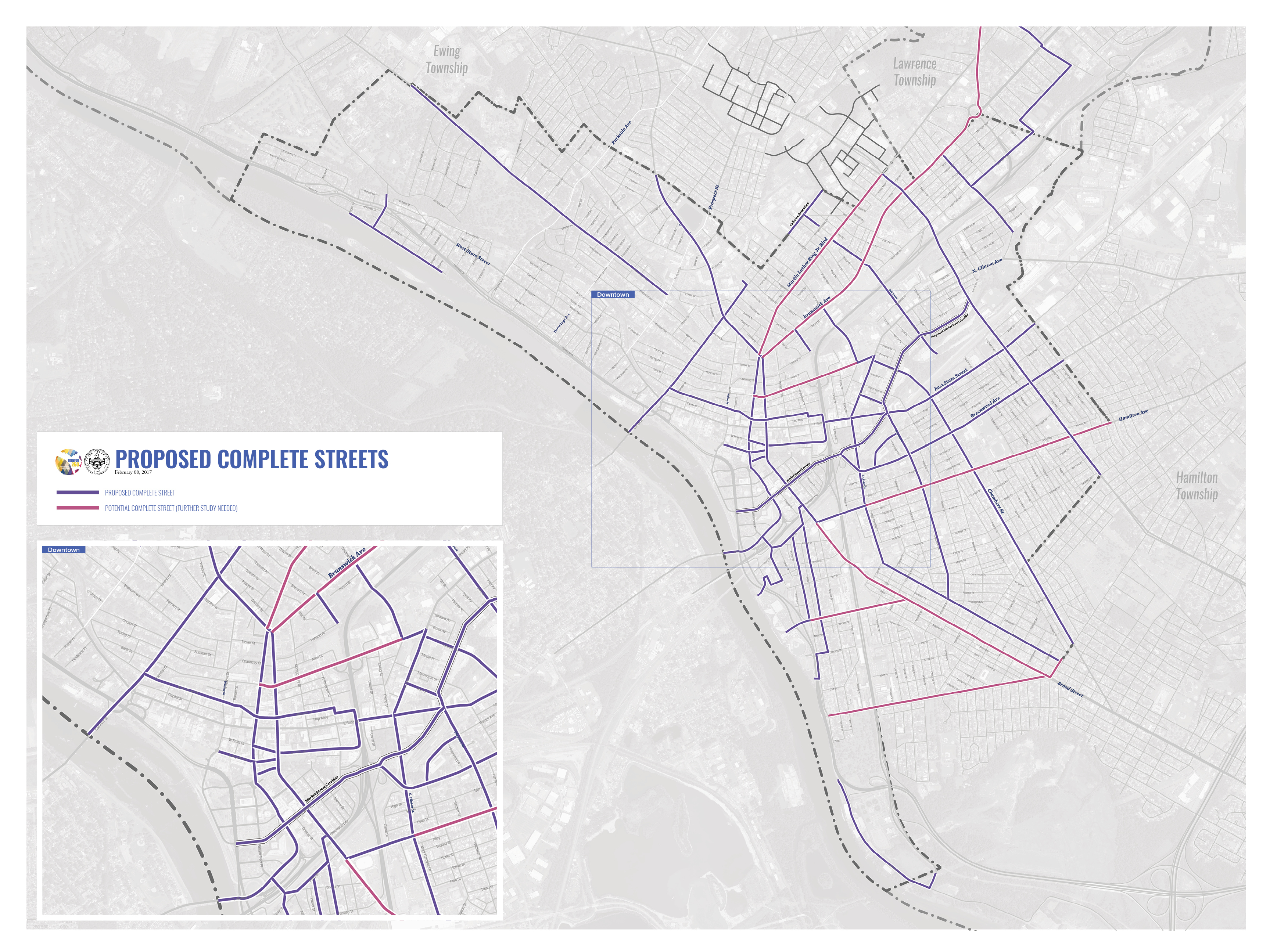 Trenton 250 Proposed Complete Streets Map
